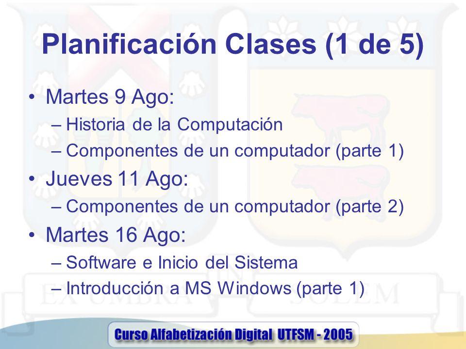 Planificación Clases (1 de 5) Martes 9 Ago: –Historia de la Computación –Componentes de un computador (parte 1) Jueves 11 Ago: –Componentes de un comp