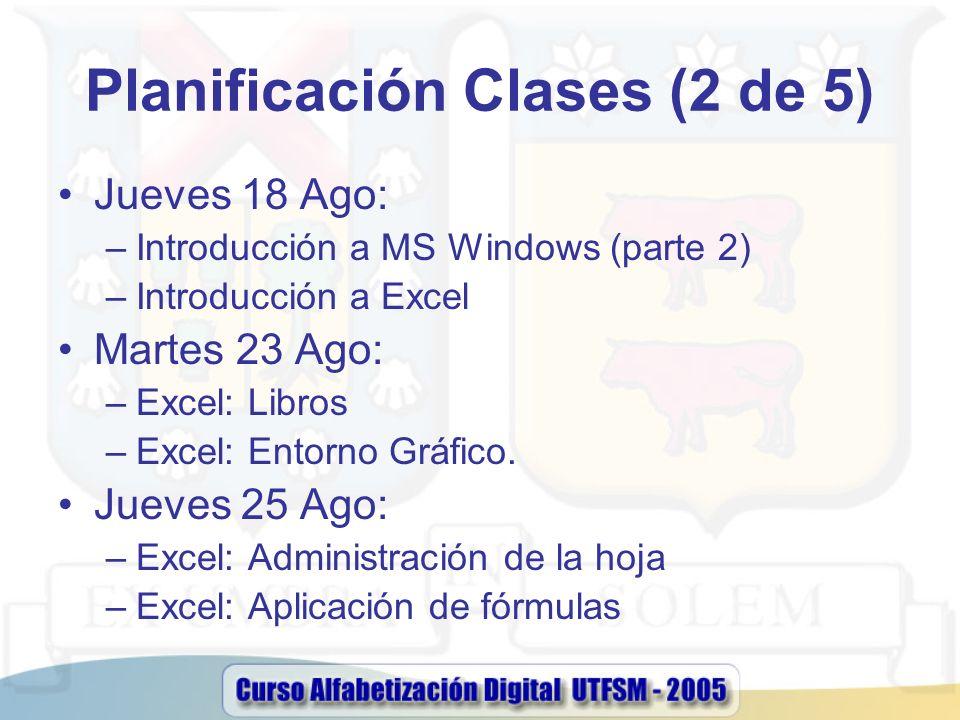 Planificación Clases (2 de 5) Jueves 18 Ago: –Introducción a MS Windows (parte 2) –Introducción a Excel Martes 23 Ago: –Excel: Libros –Excel: Entorno