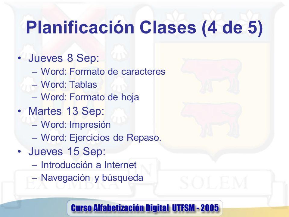 Planificación Clases (4 de 5) Jueves 8 Sep: –Word: Formato de caracteres –Word: Tablas –Word: Formato de hoja Martes 13 Sep: –Word: Impresión –Word: E