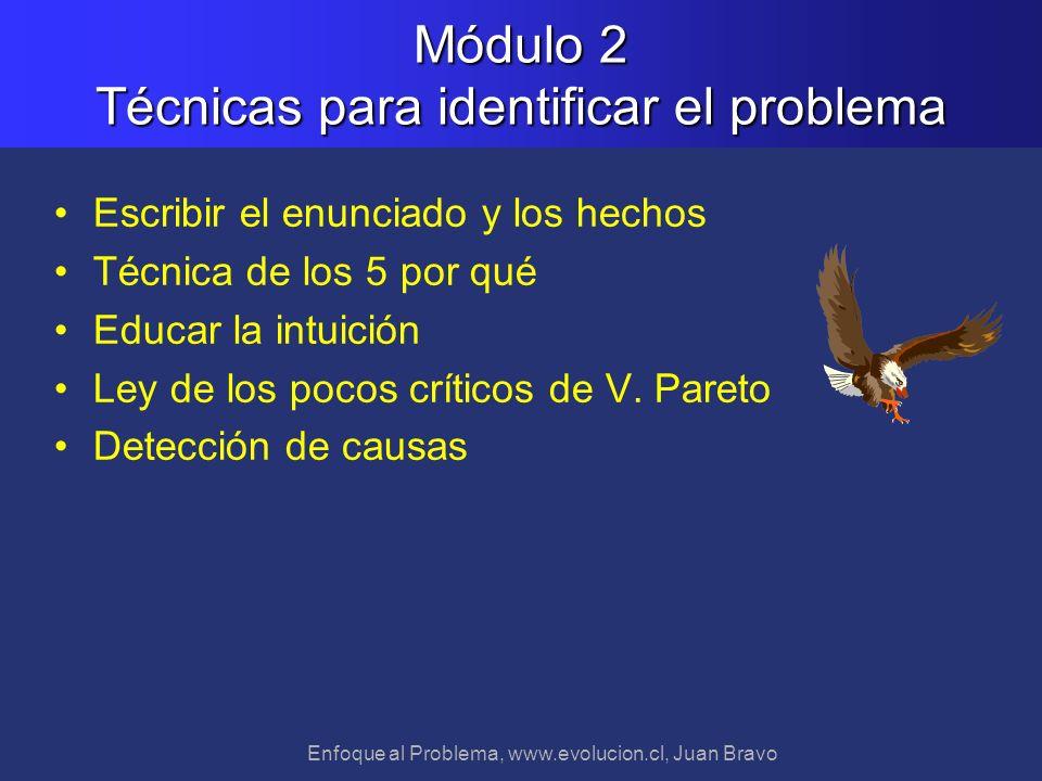 Enfoque al Problema, www.evolucion.cl, Juan Bravo Escribir el enunciado y los hechos Técnica de los 5 por qué Educar la intuición Ley de los pocos crí