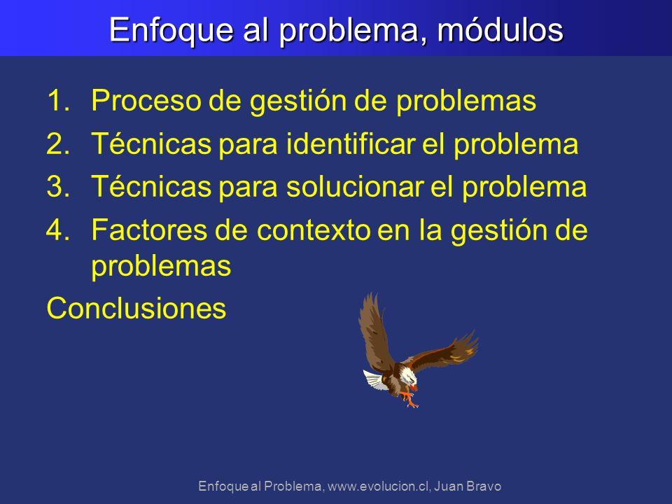 Enfoque al Problema, www.evolucion.cl, Juan Bravo 1.Proceso de gestión de problemas 2.Técnicas para identificar el problema 3.Técnicas para solucionar