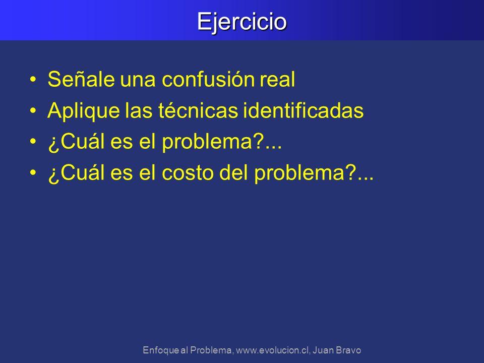 Enfoque al Problema, www.evolucion.cl, Juan BravoEjercicio Señale una confusión real Aplique las técnicas identificadas ¿Cuál es el problema?... ¿Cuál