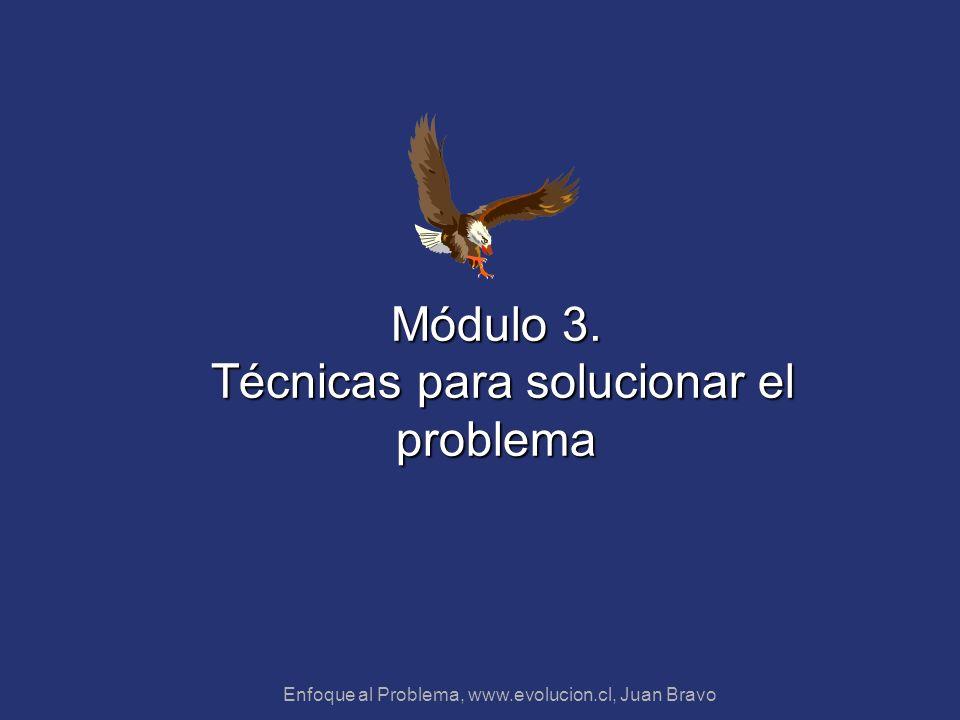 Enfoque al Problema, www.evolucion.cl, Juan Bravo Módulo 3. Técnicas para solucionar el problema