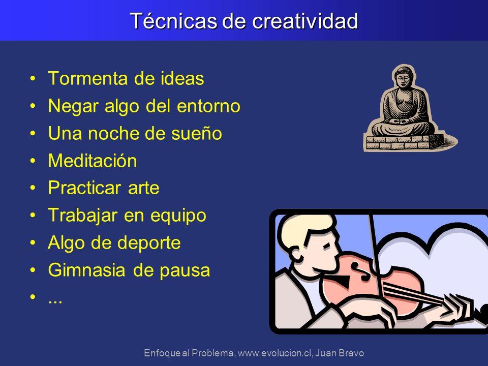 Enfoque al Problema, www.evolucion.cl, Juan Bravo Técnicas de creatividad Tormenta de ideas Negar algo del entorno Una noche de sueño Meditación Pract
