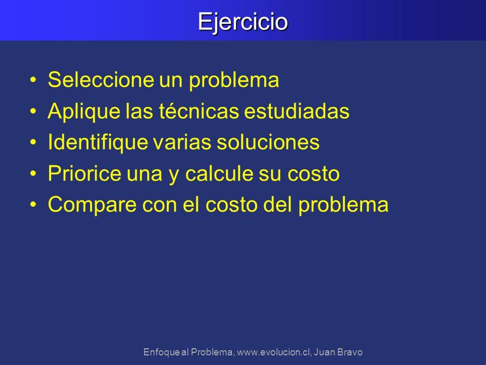 Enfoque al Problema, www.evolucion.cl, Juan BravoEjercicio Seleccione un problema Aplique las técnicas estudiadas Identifique varias soluciones Priori