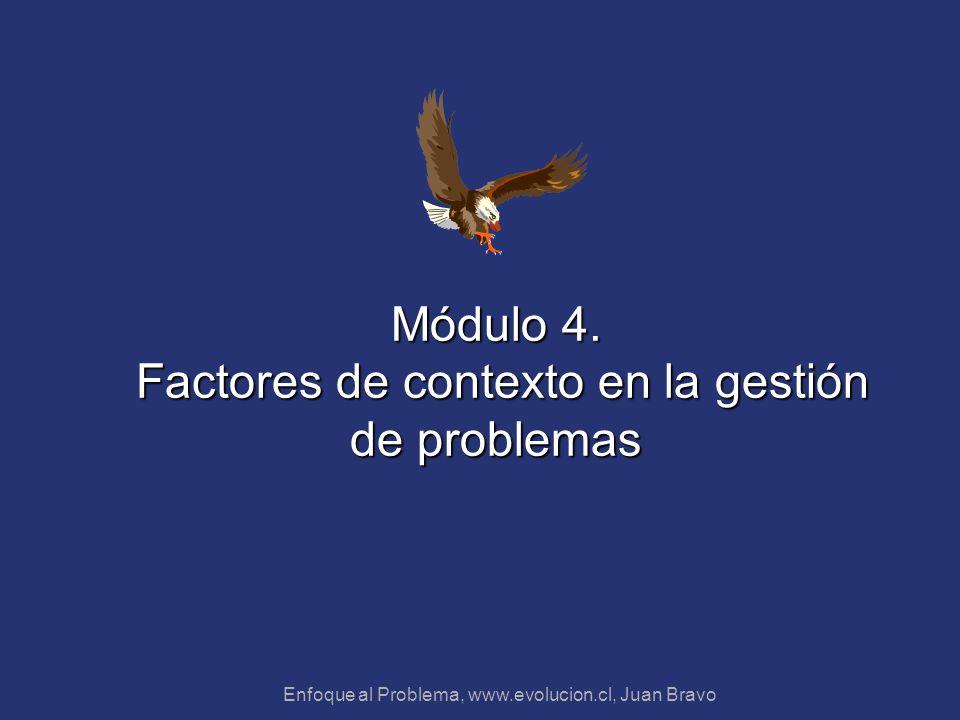 Enfoque al Problema, www.evolucion.cl, Juan Bravo Módulo 4. Factores de contexto en la gestión de problemas