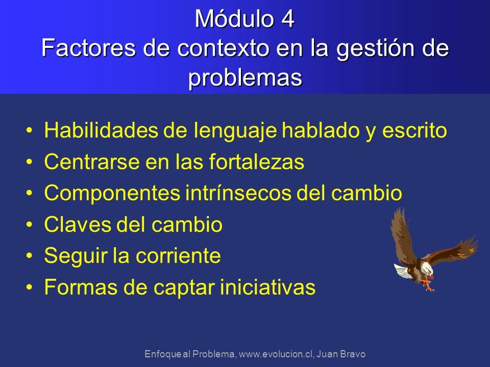 Enfoque al Problema, www.evolucion.cl, Juan Bravo Módulo 4 Factores de contexto en la gestión de problemas Habilidades de lenguaje hablado y escrito C