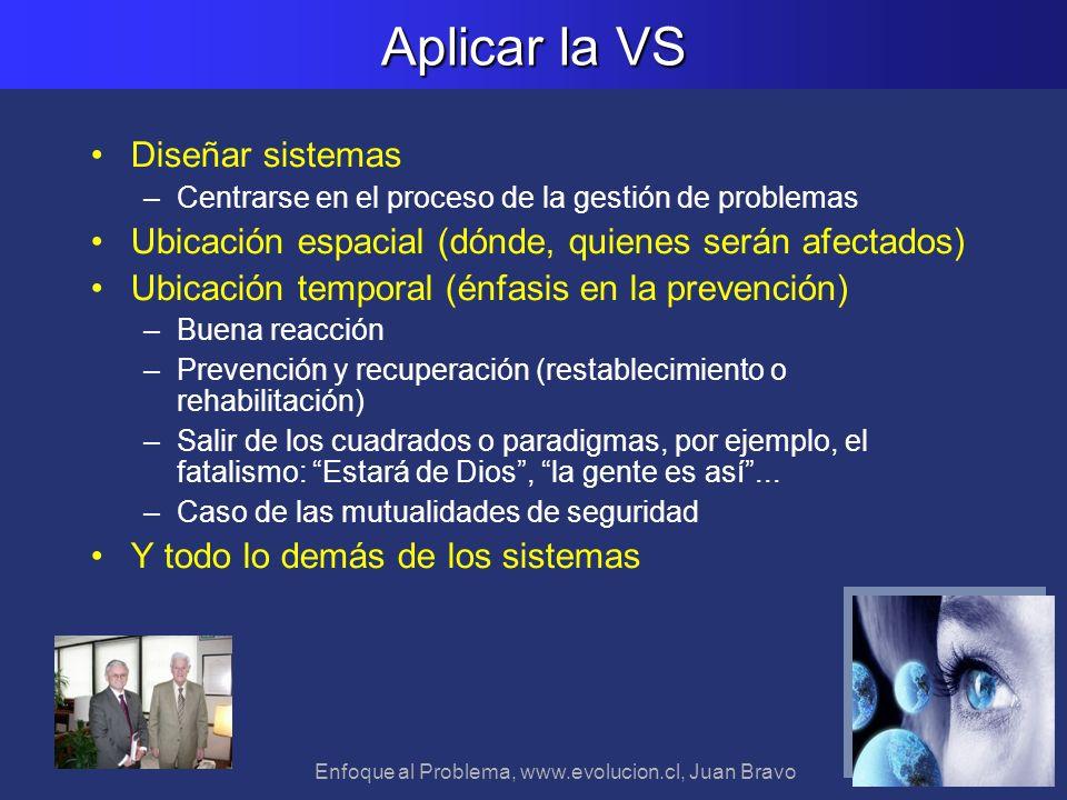 Enfoque al Problema, www.evolucion.cl, Juan Bravo Aplicar la VS Diseñar sistemas –Centrarse en el proceso de la gestión de problemas Ubicación espacia