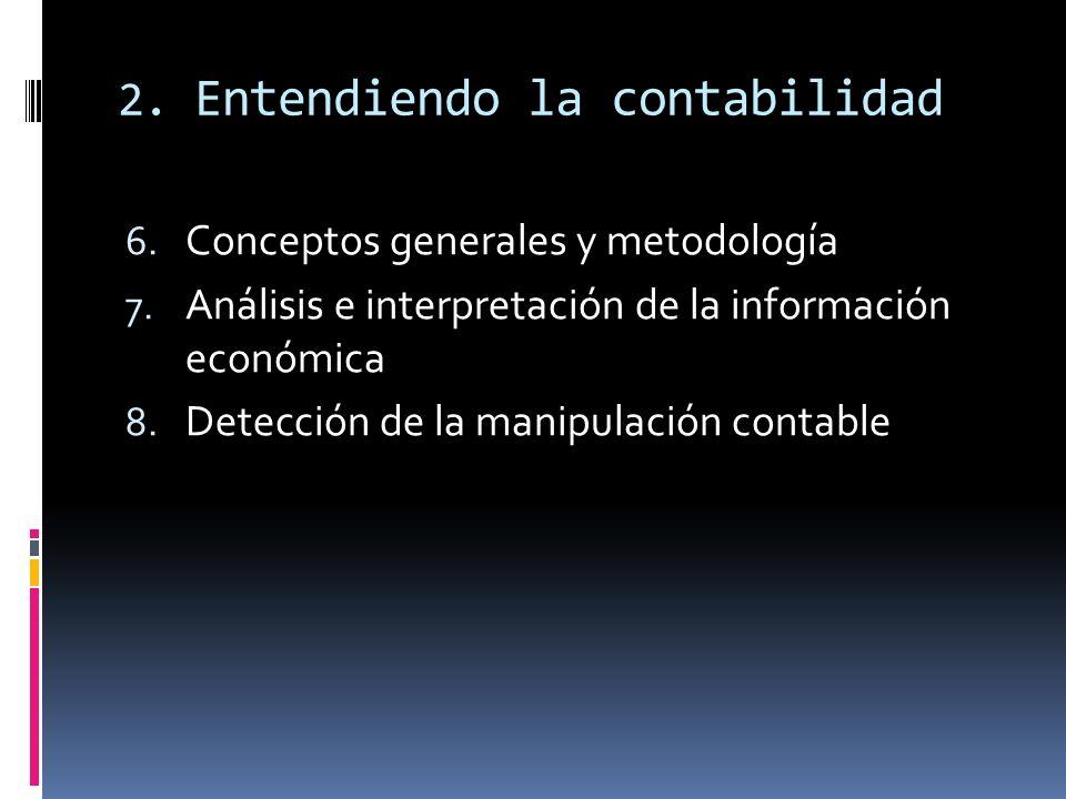 2. Entendiendo la contabilidad 6. Conceptos generales y metodología 7. Análisis e interpretación de la información económica 8. Detección de la manipu