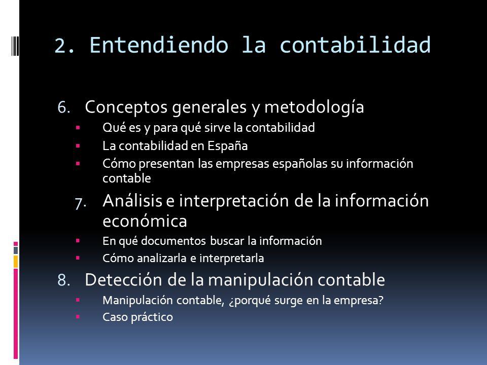 2. Entendiendo la contabilidad 6. Conceptos generales y metodología Qué es y para qué sirve la contabilidad La contabilidad en España Cómo presentan l
