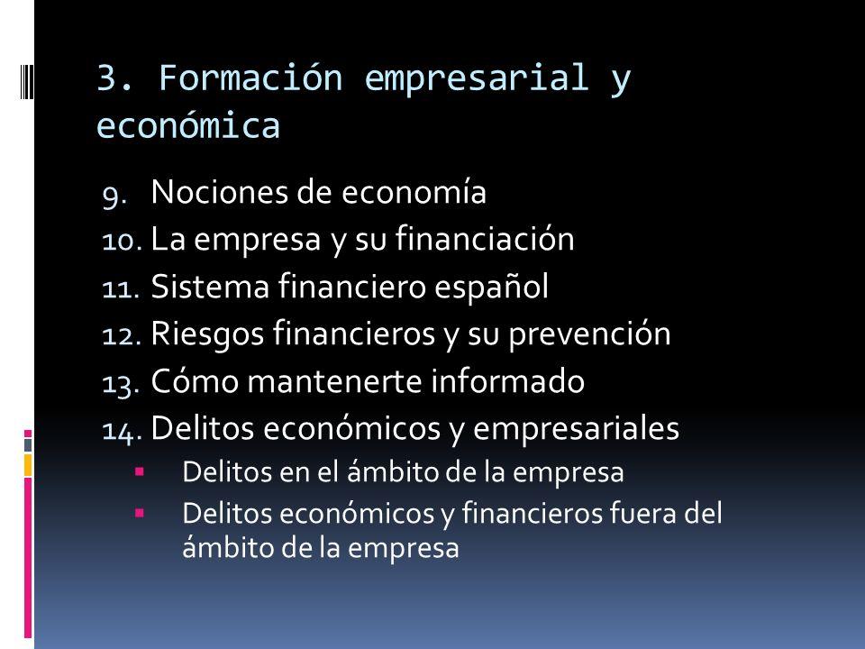3. Formación empresarial y económica 9. Nociones de economía 10. La empresa y su financiación 11. Sistema financiero español 12. Riesgos financieros y