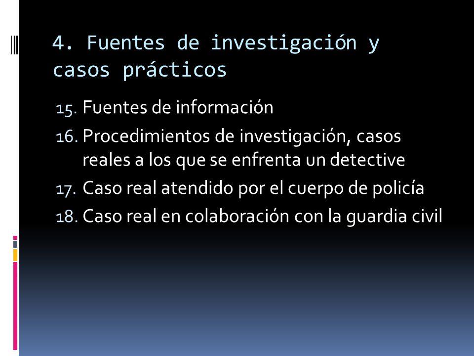 4. Fuentes de investigación y c asos prácticos 15. Fuentes de información 16. Procedimientos de investigación, casos reales a los que se enfrenta un d