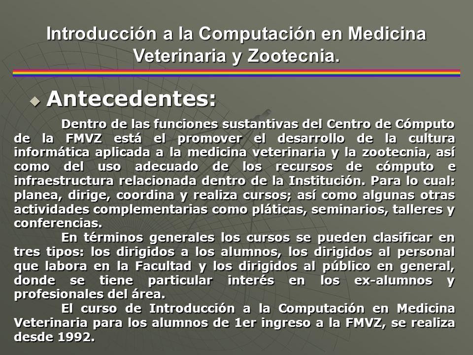 Antecedentes: Antecedentes: Introducción a la Computación en Medicina Veterinaria y Zootecnia. Dentro de las funciones sustantivas del Centro de Cómpu