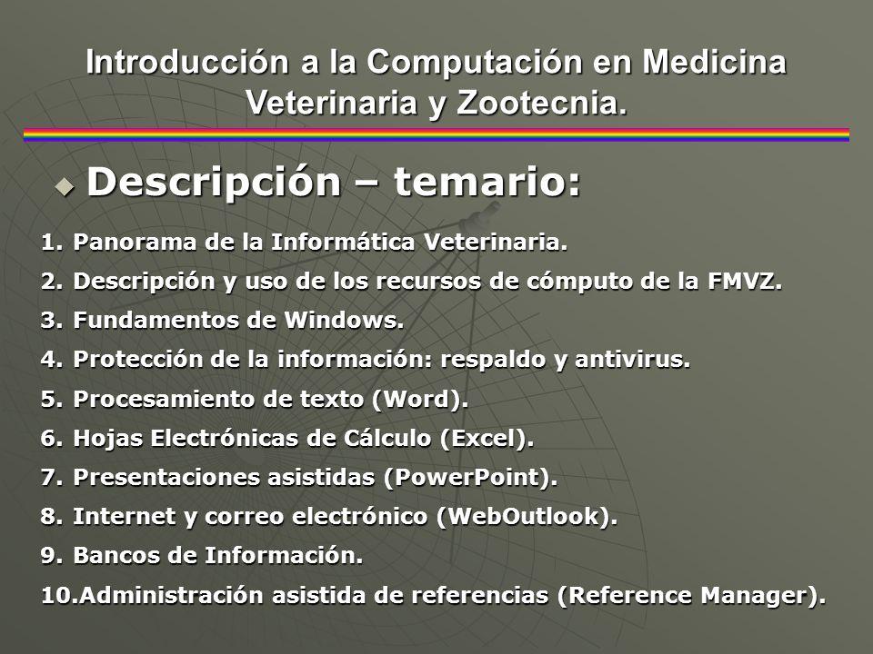 Descripción – temario: Descripción – temario: Introducción a la Computación en Medicina Veterinaria y Zootecnia. 1.Panorama de la Informática Veterina