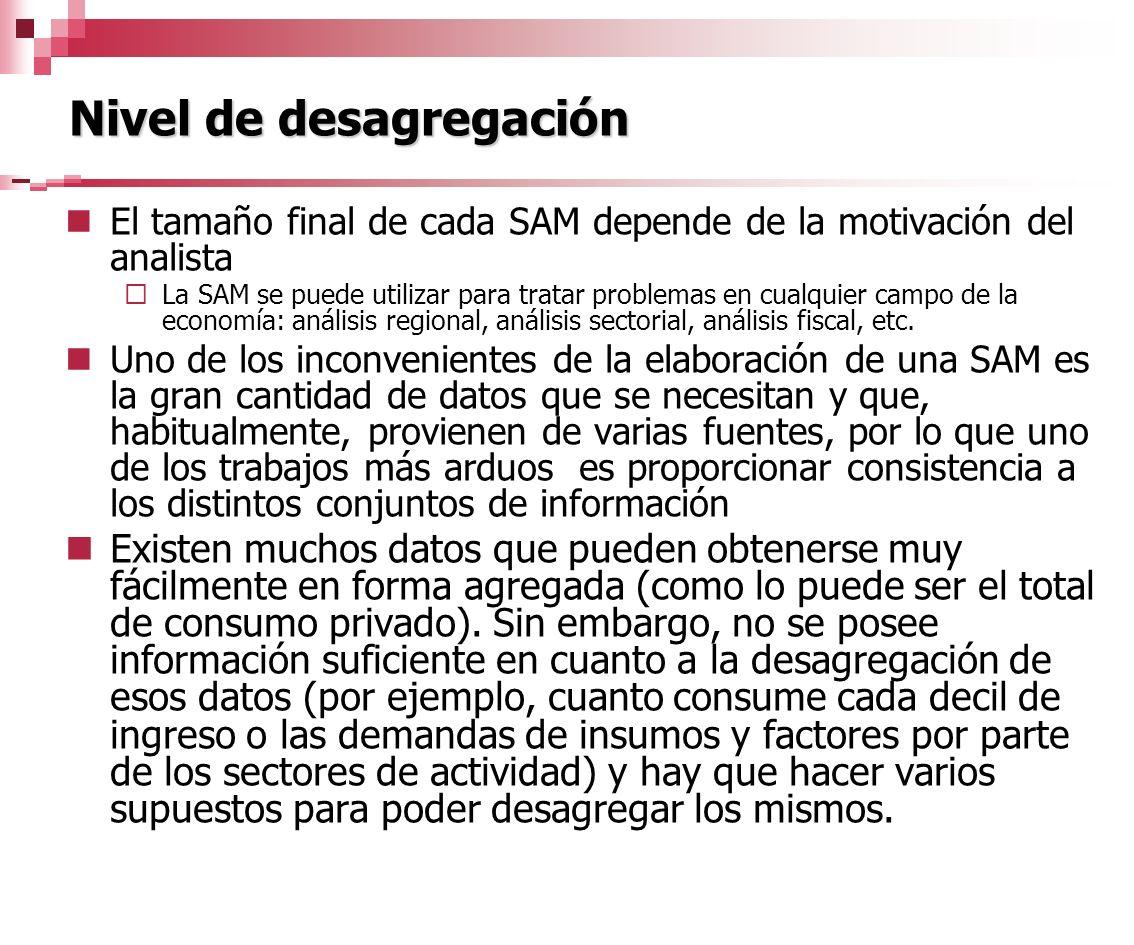 El tamaño final de cada SAM depende de la motivación del analista La SAM se puede utilizar para tratar problemas en cualquier campo de la economía: an