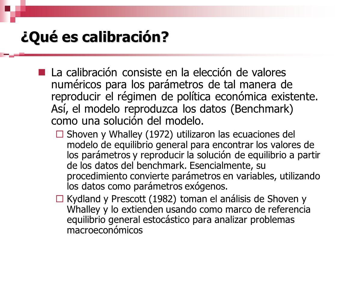¿Qué es calibración? La calibración consiste en la elección de valores numéricos para los parámetros de tal manera de reproducir el régimen de polític