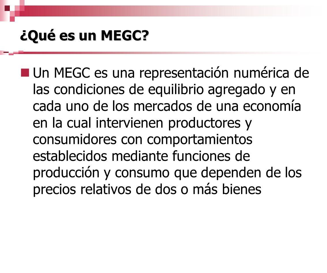 ¿Qué es un MEGC? Un MEGC es una representación numérica de las condiciones de equilibrio agregado y en cada uno de los mercados de una economía en la