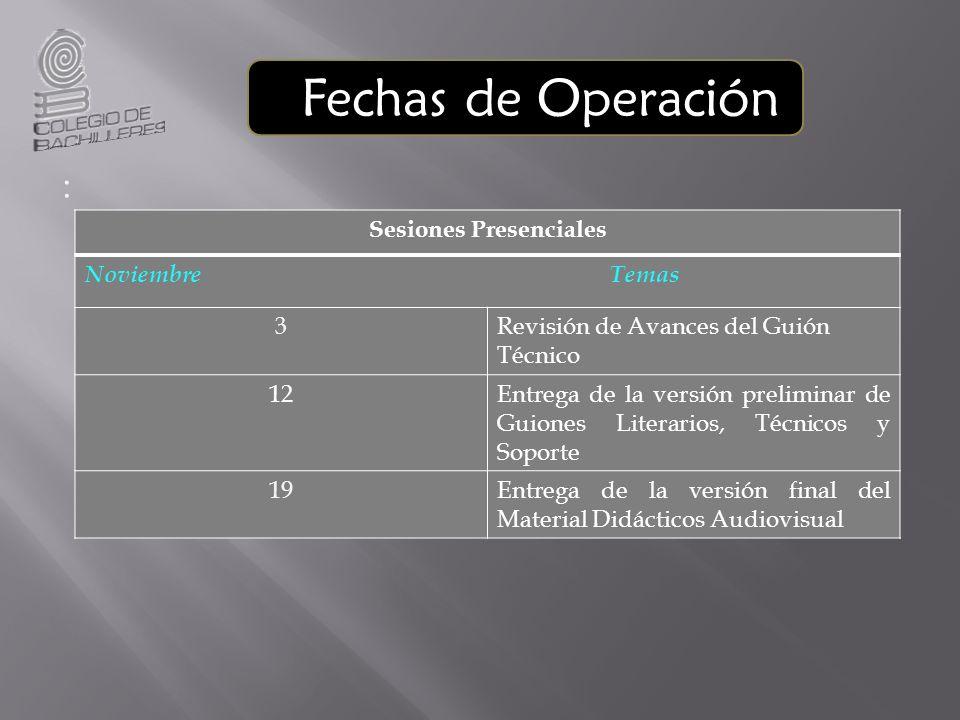 Fechas de Operación : Sesiones Presenciales Noviembre Temas 3Revisión de Avances del Guión Técnico 12Entrega de la versión preliminar de Guiones Liter