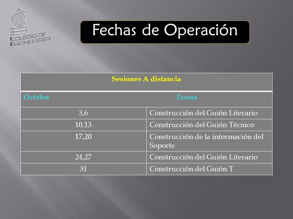 Fechas de Operación Sesiones A distancia Octubre Temas 3,6Construcción del Guión Literario 10,13Construcción del Guión Técnico 17,20Construcción de la