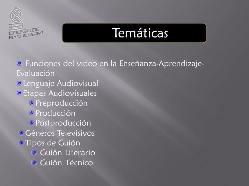 Temáticas Funciones del video en la Enseñanza-Aprendizaje- Evaluación Lenguaje Audiovisual Etapas Audiovisuales Preproducción Producción Postproducció