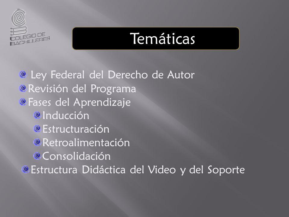 Temáticas Ley Federal del Derecho de Autor Revisión del Programa Fases del Aprendizaje Inducción Estructuración Retroalimentación Consolidación Estructura Didáctica del Video y del Soporte