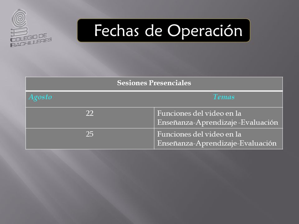 Fechas de Operación Sesiones Presenciales Agosto Temas 22Funciones del video en la Enseñanza-Aprendizaje -Evaluación 25Funciones del video en la Enseñ