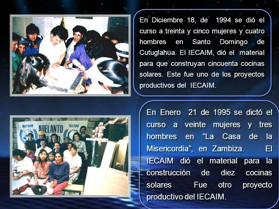 En agosto 14 de 1993 el curso fue dictado a veinte y cinco mujeres en el Comité del Pueblo 1.
