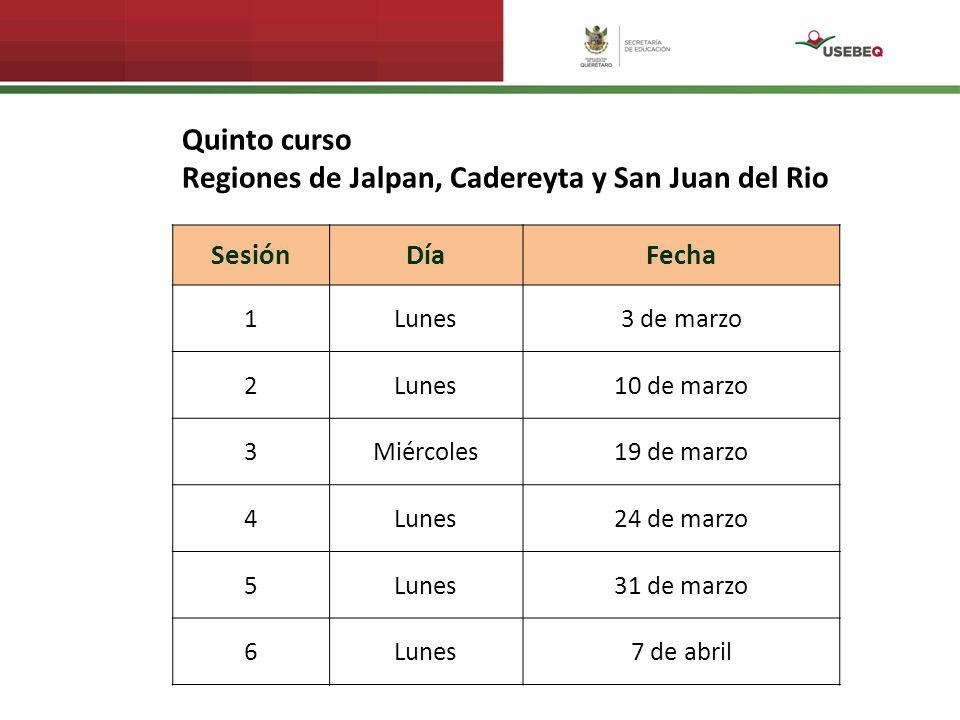 SesiónDíaFecha 1Lunes3 de marzo 2Lunes10 de marzo 3Miércoles19 de marzo 4Lunes24 de marzo 5Lunes31 de marzo 6Lunes7 de abril Quinto curso Regiones de Jalpan, Cadereyta y San Juan del Rio