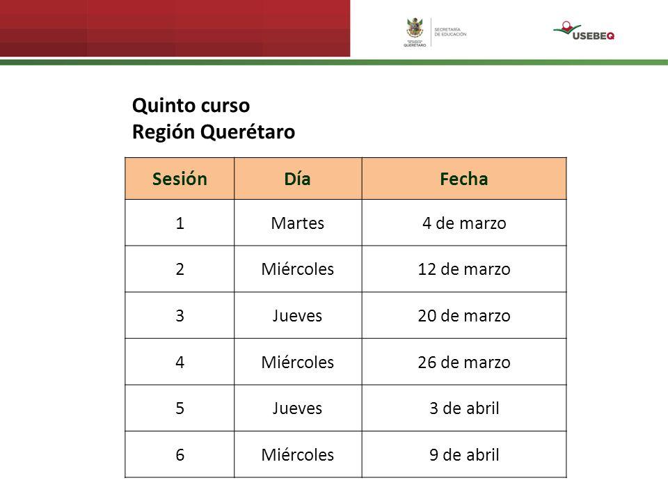 SesiónDíaFecha 1Martes4 de marzo 2Miércoles12 de marzo 3Jueves20 de marzo 4Miércoles26 de marzo 5Jueves3 de abril 6Miércoles9 de abril Quinto curso Región Querétaro
