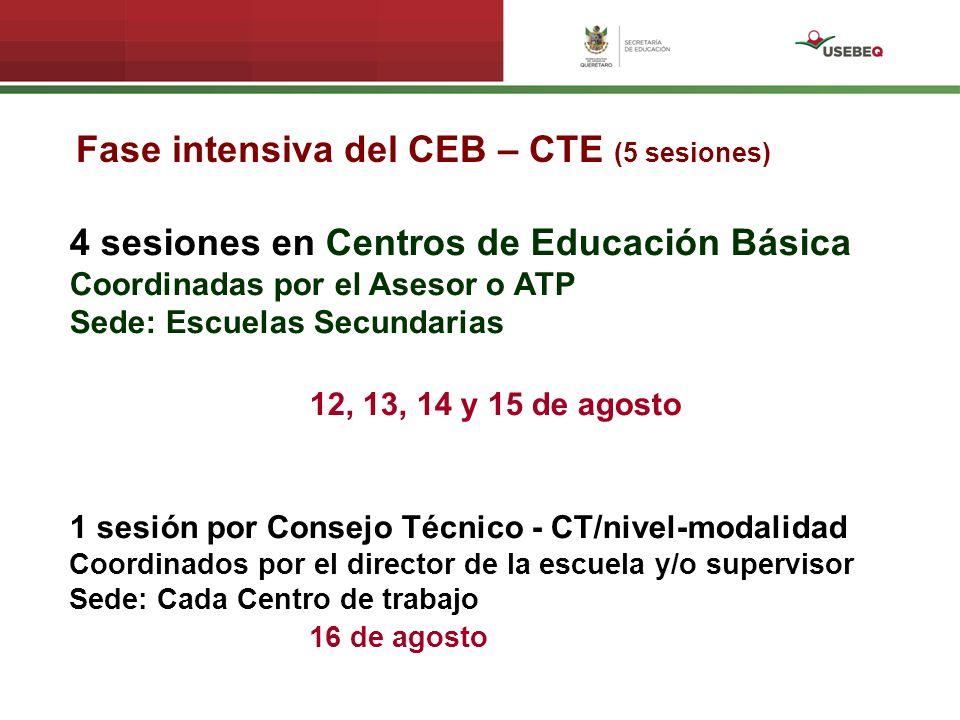 Fase intensiva del CEB – CTE (5 sesiones) 4 sesiones en Centros de Educación Básica Coordinadas por el Asesor o ATP Sede: Escuelas Secundarias 12, 13,