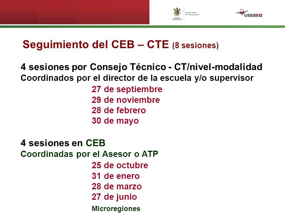 Seguimiento del CEB – CTE (8 sesiones) 4 sesiones por Consejo Técnico - CT/nivel-modalidad Coordinados por el director de la escuela y/o supervisor 27 de septiembre 29 de noviembre 28 de febrero 30 de mayo 4 sesiones en CEB Coordinadas por el Asesor o ATP 25 de octubre 31 de enero 28 de marzo 27 de junio Microregiones