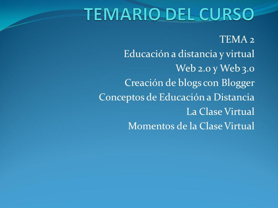 TEMA 2 Educación a distancia y virtual Web 2.0 y Web 3.0 Creación de blogs con Blogger Conceptos de Educación a Distancia La Clase Virtual Momentos de