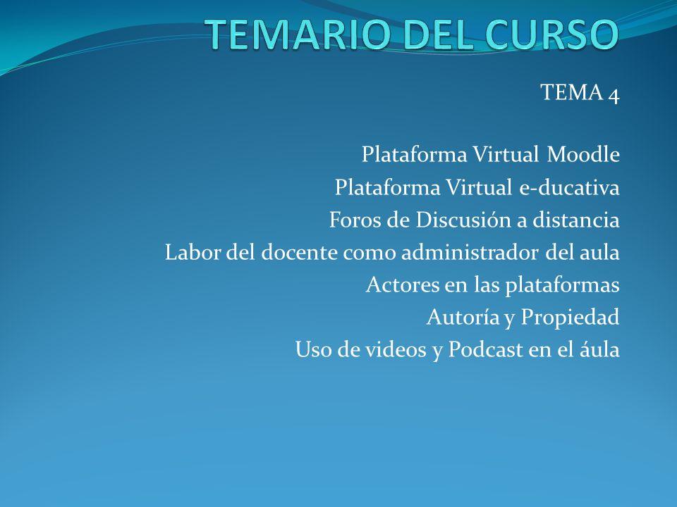 TEMA 4 Plataforma Virtual Moodle Plataforma Virtual e-ducativa Foros de Discusión a distancia Labor del docente como administrador del aula Actores en
