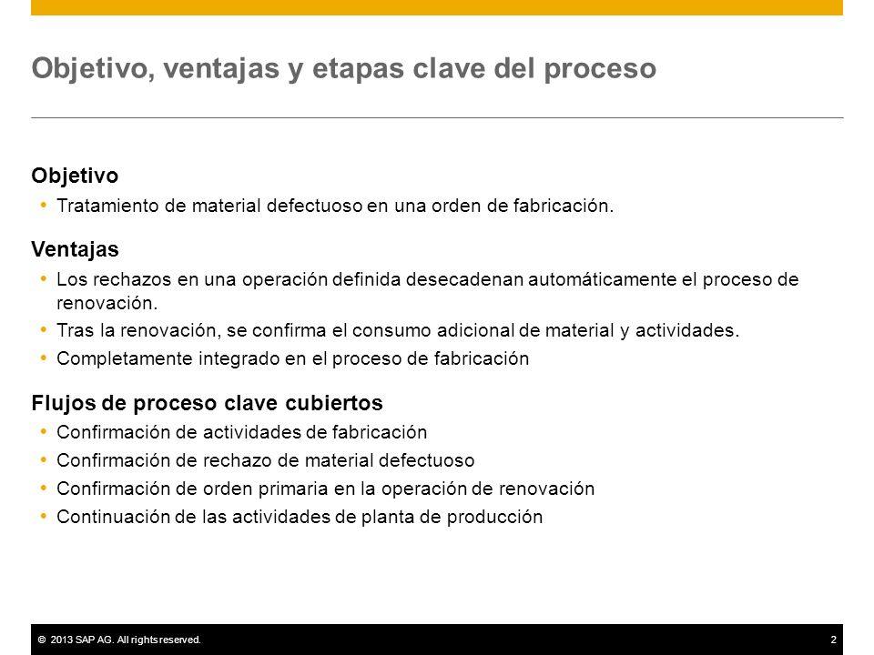 ©2013 SAP AG. All rights reserved.2 Objetivo, ventajas y etapas clave del proceso Objetivo Tratamiento de material defectuoso en una orden de fabricac