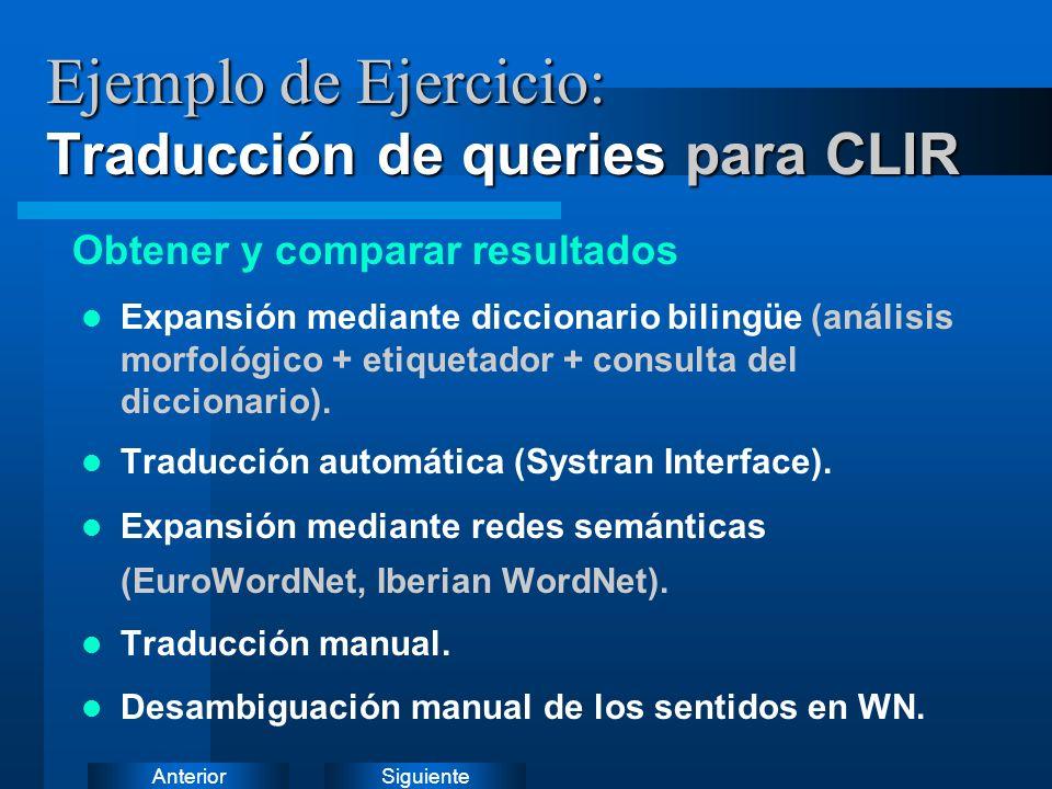 SiguienteAnterior Ejemplo de Ejercicio: Traducción de queries para CLIR Expansión mediante diccionario bilingüe (análisis morfológico + etiquetador + consulta del diccionario).