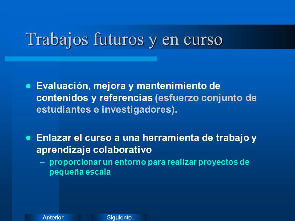 SiguienteAnterior Trabajos futuros y en curso Evaluación, mejora y mantenimiento de contenidos y referencias (esfuerzo conjunto de estudiantes e investigadores).