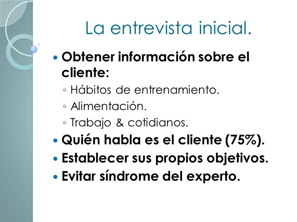 La entrevista inicial.Obtener información sobre el cliente: Hábitos de entrenamiento.