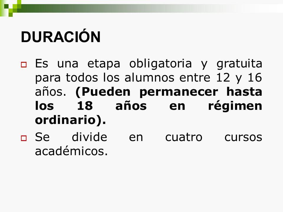 DURACIÓN Es una etapa obligatoria y gratuita para todos los alumnos entre 12 y 16 años. (Pueden permanecer hasta los 18 años en régimen ordinario). Se