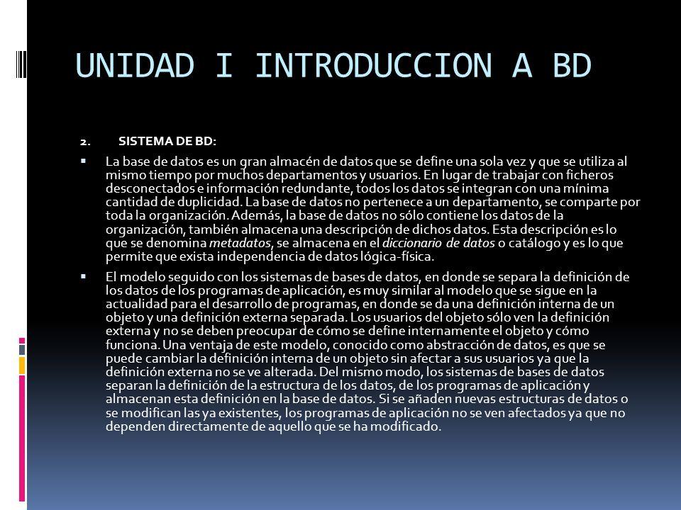2.SISTEMA DE BD: La base de datos es un gran almacén de datos que se define una sola vez y que se utiliza al mismo tiempo por muchos departamentos y u