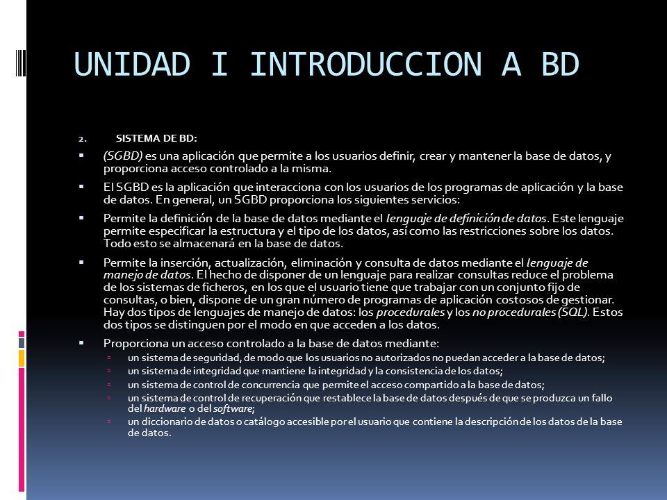 2. SISTEMA DE BD: (SGBD) es una aplicación que permite a los usuarios definir, crear y mantener la base de datos, y proporciona acceso controlado a la