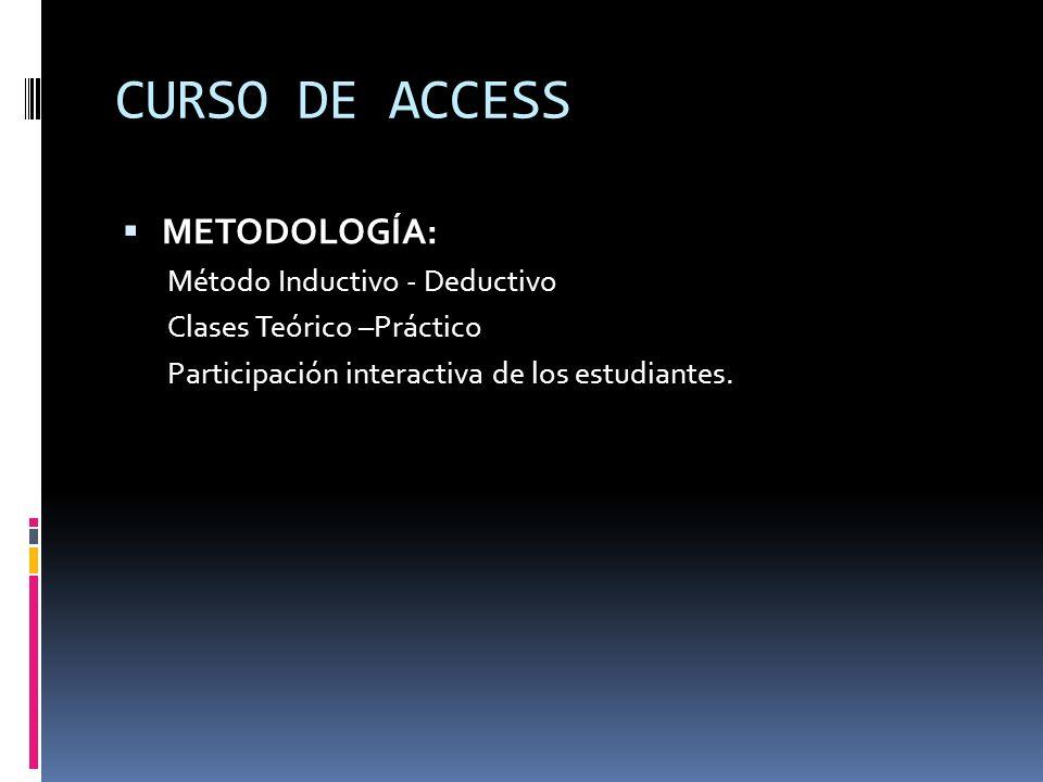 METODOLOGÍA: Método Inductivo - Deductivo Clases Teórico –Práctico Participación interactiva de los estudiantes. CURSO DE ACCESS
