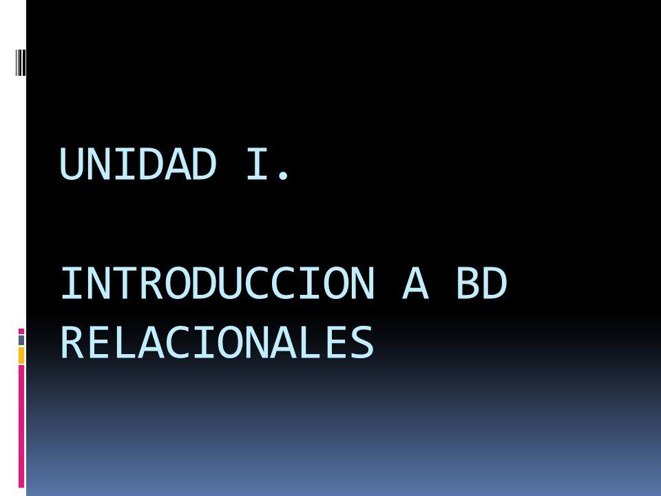 UNIDAD I. INTRODUCCION A BD RELACIONALES