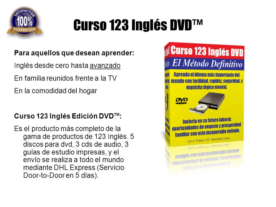 Curso 123 Inglés DVD Para aquellos que desean aprender: Inglés desde cero hasta avanzado En familia reunidos frente a la TV En la comodidad del hogar