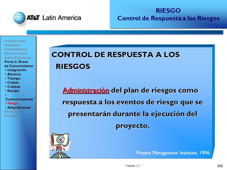 Versión 1.5 101 CONTROL DE RESPUESTA A LOS RIESGOS Administración del plan de riesgos como respuesta a los eventos de riesgo que se presentarán durante la ejecución del proyecto.