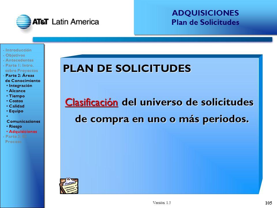 Versión 1.5 105 PLAN DE SOLICITUDES Clasificación del universo de solicitudes de compra en uno o más periodos.