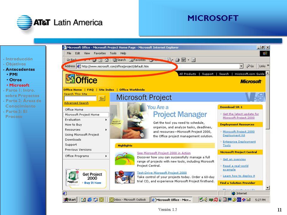 Versión 1.5 11 MICROSOFT - Introducción - Objetivos - Antecedentes PMI Otros Microsoft - Parte 1: Intro.