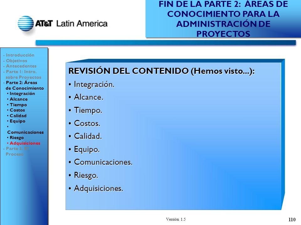Versión 1.5 110 REVISIÓN DEL CONTENIDO (Hemos visto...): Integración.Integración.
