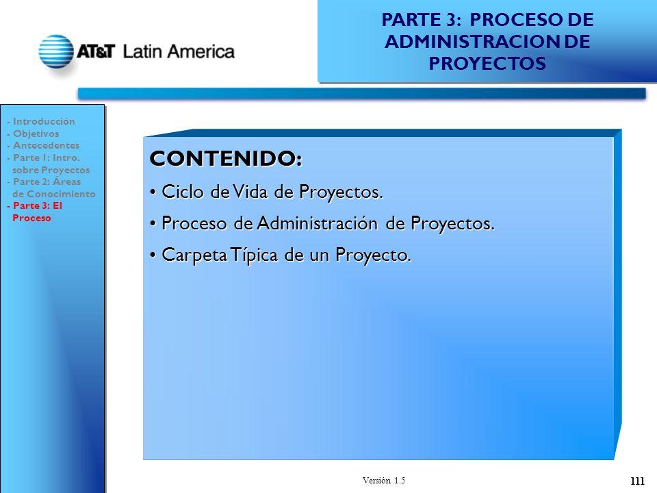 Versión 1.5 111 PARTE 3: PROCESO DE ADMINISTRACION DE PROYECTOS - Introducción - Objetivos - Antecedentes - Parte 1: Intro.