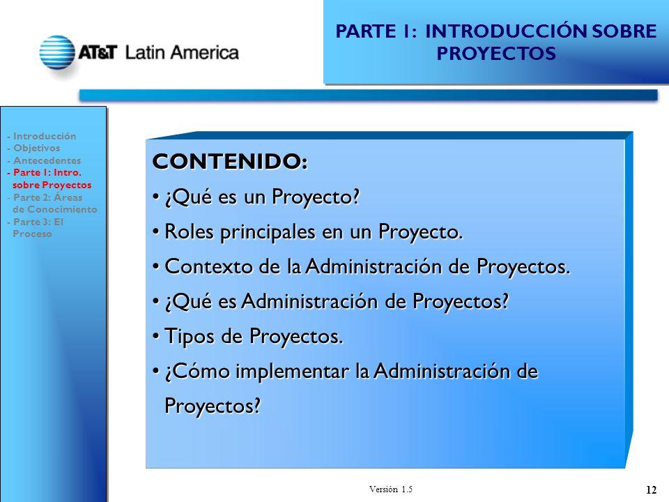 Versión 1.5 12 CONTENIDO: ¿Qué es un Proyecto?¿Qué es un Proyecto.
