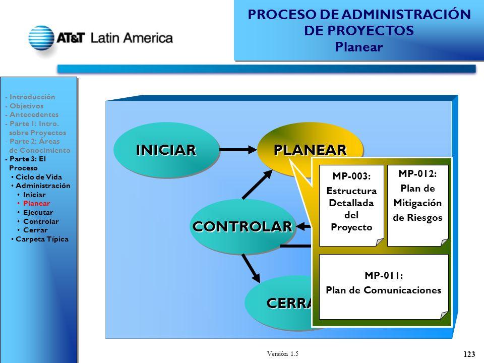 Versión 1.5 123 PROCESO DE ADMINISTRACIÓN DE PROYECTOS Planear PROCESO DE ADMINISTRACIÓN DE PROYECTOS Planear - Introducción - Objetivos - Antecedentes - Parte 1: Intro.